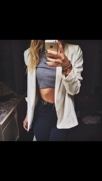 jacket white blazer crop tops high waisted shorts high waisted pants black pants iphone 5 case