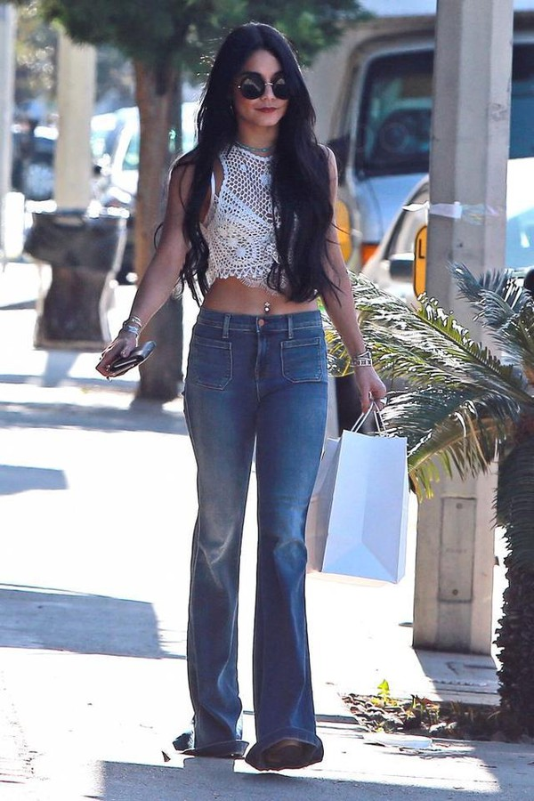 Jeans: top, flare jeans, flare, vanessa hudgens, denim, lace top ...