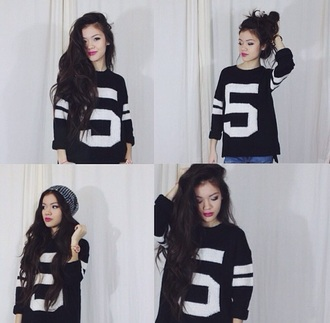 sweater number stripes numbered sweater black and white vivian vo-farmer instagram viviannnv five jersey crewneck team team number team number sweater two stripes