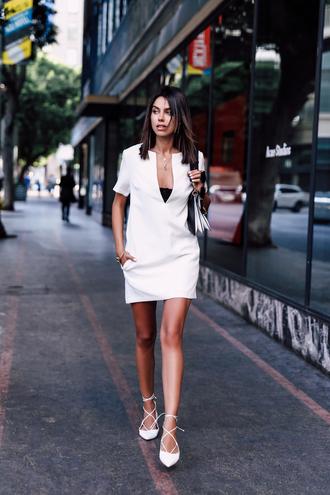 viva luxury blogger dress bag white dress pocket dress mini dress short dress v neck v neck dress short sleeve short sleeve dress flats pointed flats white flats lace up