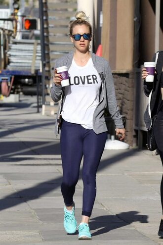 t-shirt top leggings sneakers kaley cuoco streetstyle workout sportswear sporty sports shoes