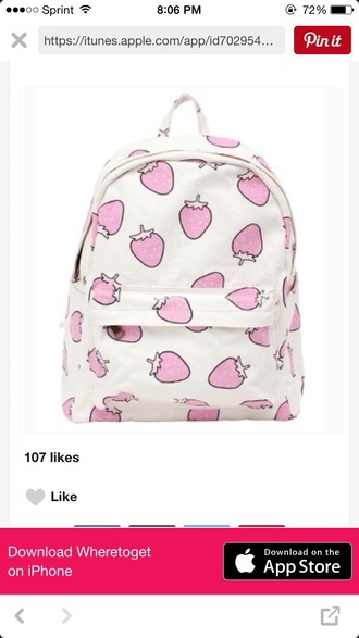 bag strawberry white backpack