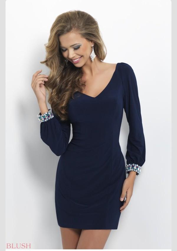 Dress: classy, navy blue long sleeve dress, short dress, navy ...