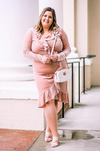 stylishsassy&classy blogger dress shoes bag curvy gucci bag ruffle dress pink dress sandals spring outfits