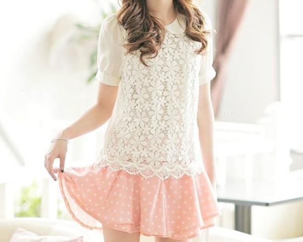 skirt pink cute polka dots pink skirt kawaii