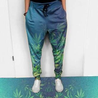 pants pot leaves multicolor