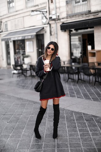sweater tumblr grey sweater knit knitwear knitted sweater v neck sweater dress boots black boots over the knee boots over the knee sunglasses
