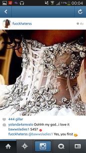 dress,corset,silver glitter,silver,white dress,silver dress