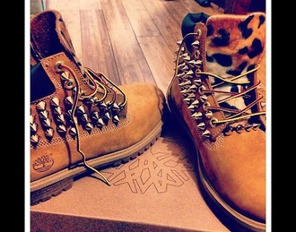 shoes timberland spikes cheetah print lepoard print
