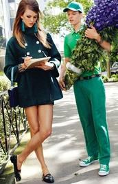 dress,short dress,dark green,60s style,dolly,elegant,earrings,forest green,green coat