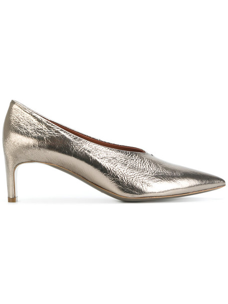 David Beauciel women pumps leather grey metallic shoes