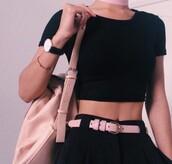 belt,pink,black top