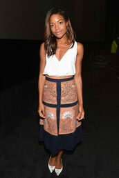 skirt,top,midi skirt,naomie harris,embroidered