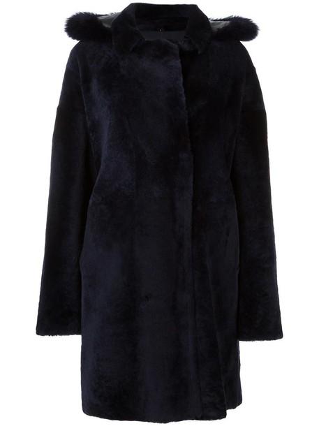 Guy Laroche coat fur coat double breasted fur fox women blue