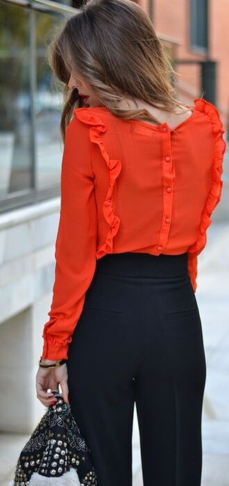 blouse red red blouse ruffle frilly pants black pants outfit elegant jacket high waisted high waisted pants