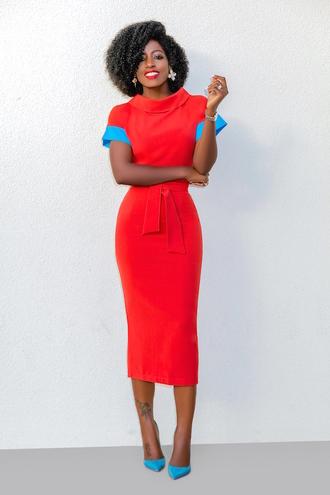 blogger dress shoes red dress midi dress pumps