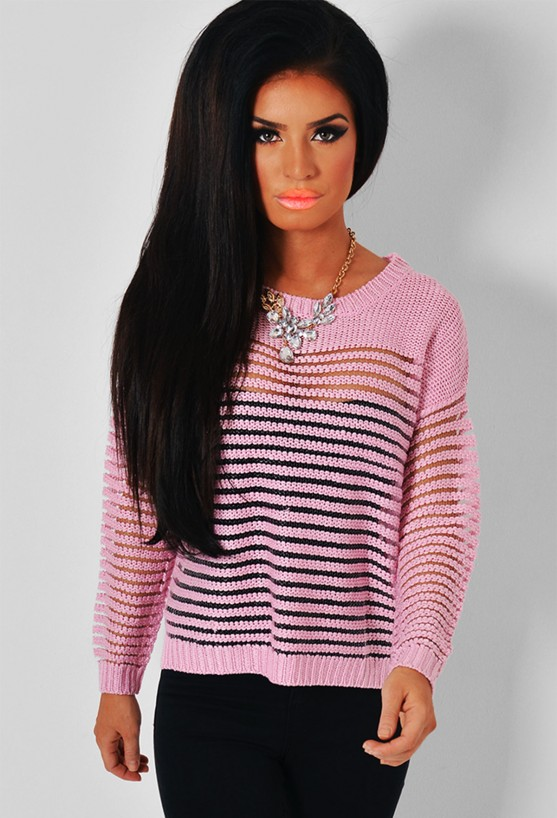 Candy pink sheer stripe knitted jumper