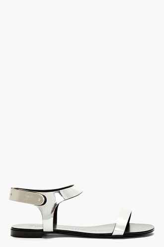 shoes flat silver sandals leather women nuvoroll