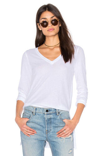 top vintage long v neck white