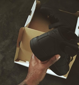 shoes matte shoes trill dope af1 matte matte black black black shoes nike air force 1 nike nike shoes dope shoes