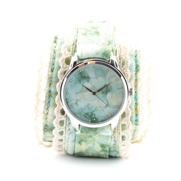 jewels ziziztime ziz watch watch watch white green flowers pattern