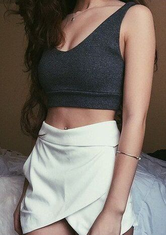tank top greycroptop white wrap skirt knit