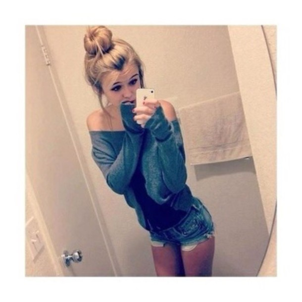 acacia brinley grey sweater off the shoulder sweater bun sweater