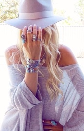 hat,purple,summer,blonde hair,bracelets,sweater,jewels,grey sweater,off the shoulder sweater,blouse,pewter,sheer,lightweight sweater,spring,beach,cover up,cute sweaters,style,fashion,sexy sweater,oversized sweater,boho shirt,boyfriend,long sleeves,loose fit sweater,warm,hot,summer top,sunsoaked/tan,casual,off the shoulder,cold shoulder,off the shoulder top,blue shirt,striped shirt,bohemian,boho,mauve,pink,felt hat,all grey everything,jewelry,knuckle ring,ring,boho chic,boho jewelry,stacked bracelets,silver jewelry,silver bracelet,silver ring