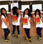 shirt,coriyon,jeans,shoes,pow on em,pow,pop art