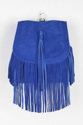 bag,suede,electric blue,electric blue backpack,fringes,backpack,suede backpack,fringed bag,urban outfitters