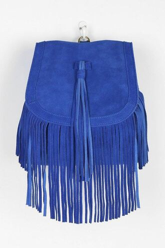 bag suede electric blue electric blue backpack fringes backpack suede backpack fringed bag urban outfitters