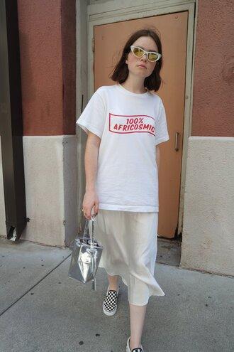 t-shirt tumblr white t-shirt dress slip dress midi dress slip on shoes bag silver bag shoes