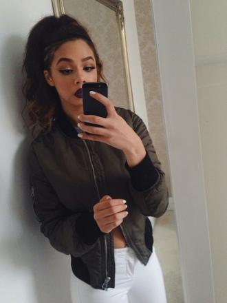 jacket bomber jacket girl white jeans jeans make-up lipstick pants