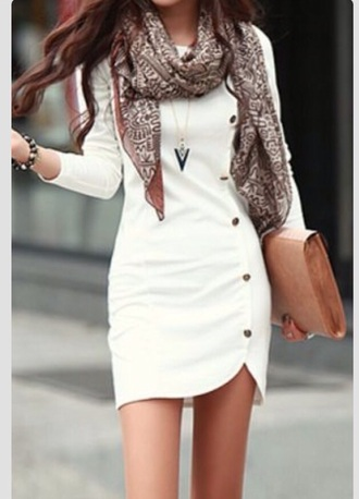 dress white scarf white dress button up long sleeve dress