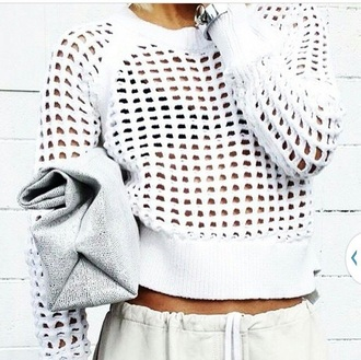 sweater white summer holed out sweater knitted spring top shirt transparent