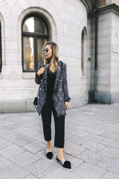 jacket,tweed,tumblr,top,black top,pants,black pants,cropped pants,shoes,slingbacks,pom poms,mid heel pumps,fall outfits,sunglasses,bag