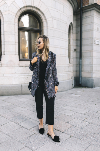 jacket tweed tumblr top black top pants black pants cropped pants shoes slingbacks pom poms mid heel pumps fall outfits sunglasses bag