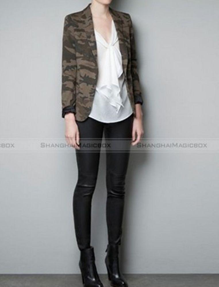 Women Fashion Military Green Camouflage Top Suit Coat Slim Jacket WSUIT063   eBay