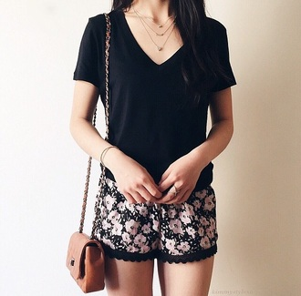 shorts floral leather bag t-shirt black top top cute shorts flowered shorts flowers print brown bag leather bag outfit
