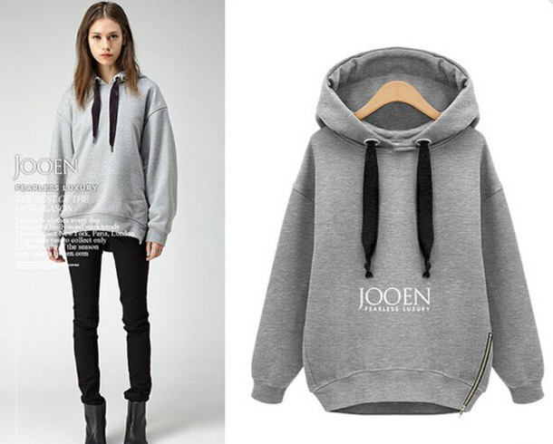 Hot Selling Women Fashion Side Zipper Hoody Sweatershirt Ladies ...
