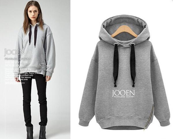 2014 Top Quality Womens Fashion Cotton Loose Hedging Hooded Long Sweatshirt Long Sleeve Hoodies ...