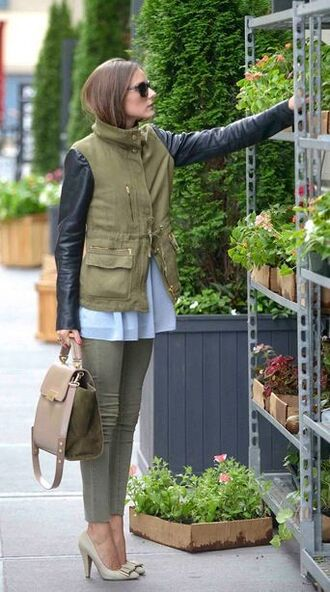 coat olivia palermo skinny jeans white blouse satchel bag army green jacket leather sleeves black sunglasses