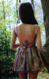 dress,backless,floral,floral dress,mini,mini dress,bow,tumblr,backless dress,pinterest
