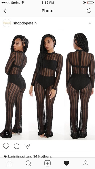 jumpsuit black sheer black jumpsuit see through see through jumpsuit long sleeves mesh sexy sexy outfit party outfits summer outfits spring outfits fall outfits winter outfits classy date outfit girly cute clubwear stripes