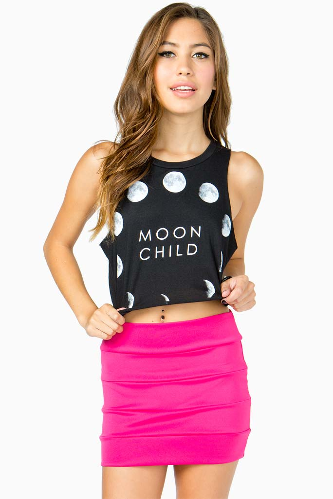 A'GACI Moon Child Cropped Tee - Graphics