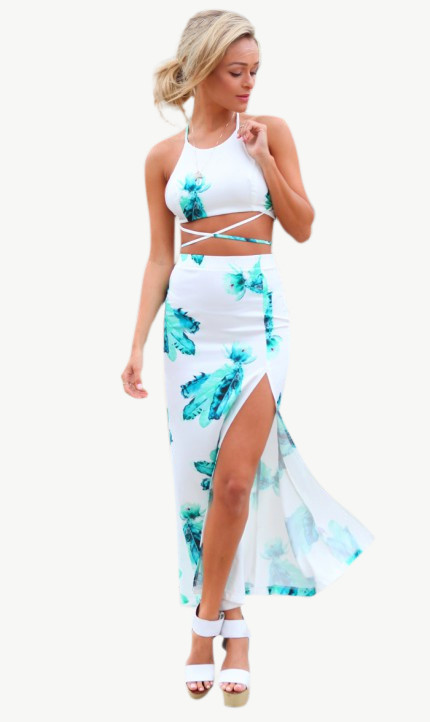 'ocean paradise' two piece skirt and top – style valentine