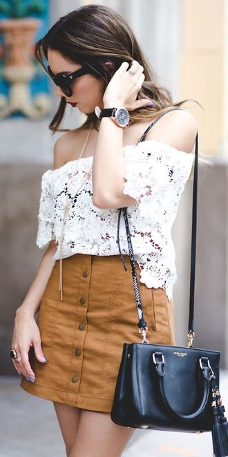 skirt nanys closet camel suede skirt mini skirt camel skirt suede skirt bag black bag top white top off the shoulder off the shoulder top cold shoulder lace top blogger sunglasses black sunglasses watch black watch