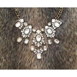 jewels the shopping bag sparkle crystal fur necklace love shopping bib necklace statement necklace glamour