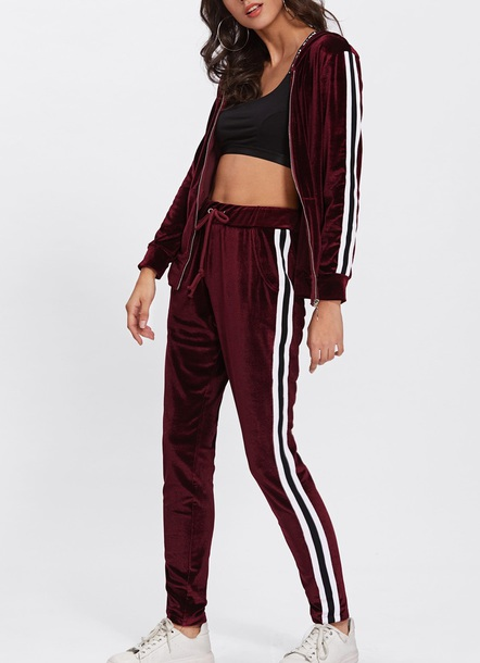 jumpsuit girly velvet two-piece matching set tracksuit joggers joggers pants zip zip-up crop cropped