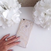 phone cover,iphone case,iphone 5 case,girly,iphone cover,pattern,gold,white,iphone 6 case,flowers,white floral,iphone,cover,henna,see through,bag,clear,home accessory,clear phone cover,phone,jewels,purse/iphone case,mobile case,transperant,nail polish,mandala